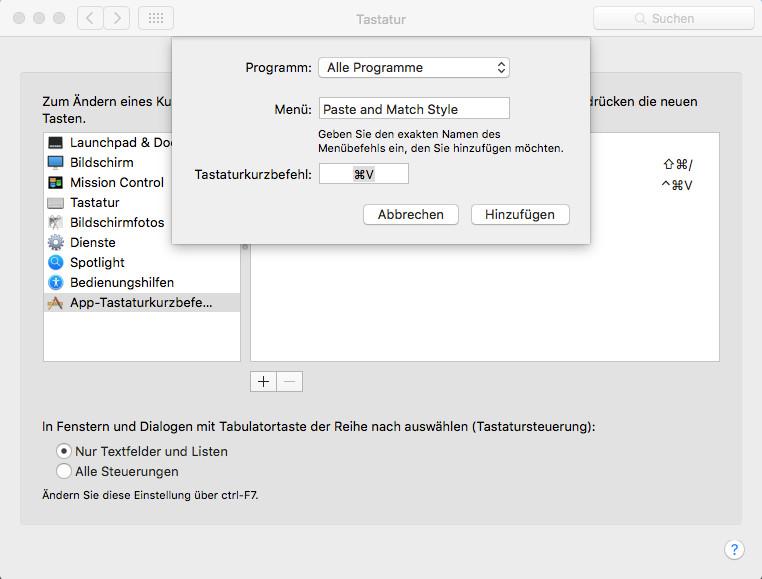Mac OSX: Systemeinstellungen Tastaur Kurzbefehl